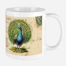 Vintage French peacock and postcard Mug