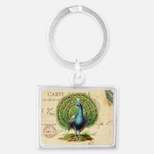 Vintage French peacock and postcard Keychains