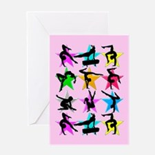 PINK GYMNAST STAR Greeting Card