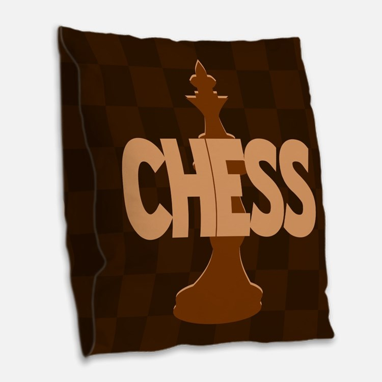 Chess King Burlap Throw Pillow