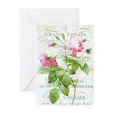 Vintage French Botanical pink rose Greeting Card