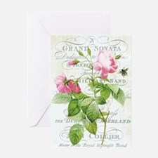 Vintage French Botanical pink rose Greeting Card
