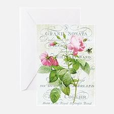 Vintage French Botanical pink rose Greeting Cards