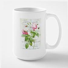 Vintage French Botanical pink rose Mug
