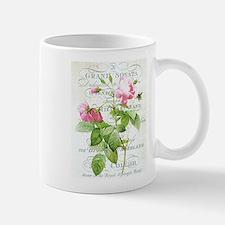 Vintage French Botanical pink rose Small Mugs