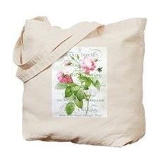 Vintage French Botanical pink rose Tote Bag