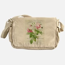 Vintage French Botanical pink rose Messenger Bag