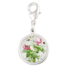 Vintage French Botanical pink rose Charms
