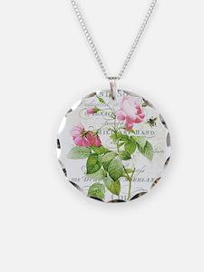 Vintage French Botanical pink rose Necklace