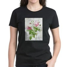 Vintage French Botanical pink rose T-Shirt