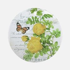 Vintage French botanical yellow rose Ornament (Rou