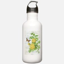 Vintage French botanical yellow rose Water Bottle