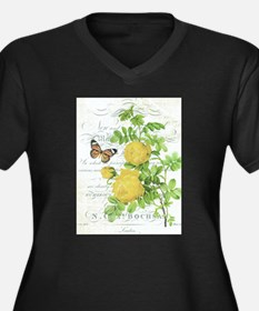 Vintage French botanical yellow rose Plus Size T-S