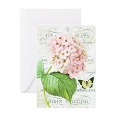 Vintage French botanical pink hydrangea Greeting C