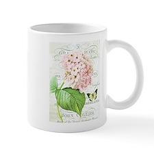 Vintage French botanical pink hydrangea Small Mugs