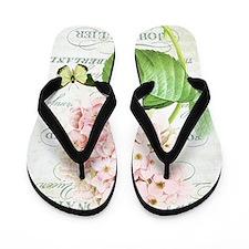 Vintage French botanical pink hydrangea Flip Flops