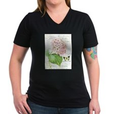 Vintage French botanical pink hydrangea T-Shirt