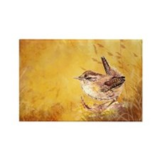 Watercolor Wren Bird Rectangle Magnet