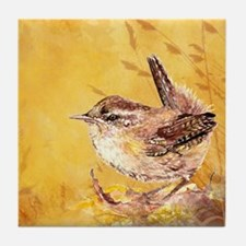 Watercolor Wren Bird Tile Coaster
