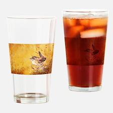 Watercolor Wren Bird Drinking Glass