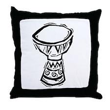 Djembe Drum woodcut Throw Pillow