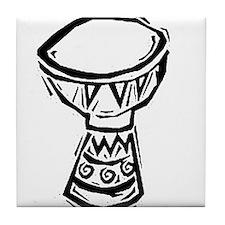 Djembe Drum woodcut Tile Coaster