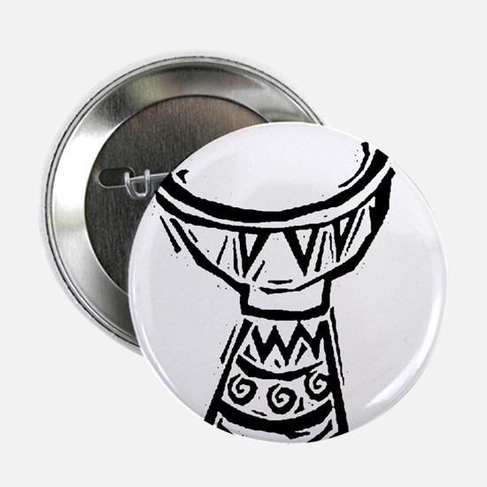 "Djembe Drum woodcut 2.25"" Button"