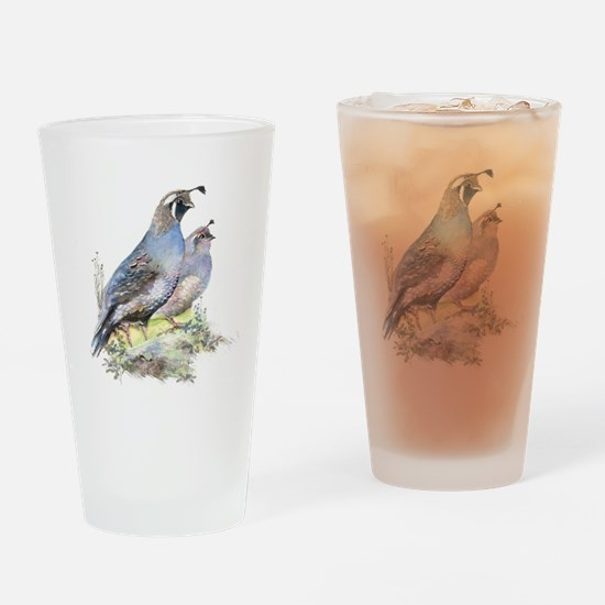 Watercolor California Quail Bird Drinking Glass
