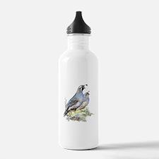 Watercolor California Quail Bird Water Bottle