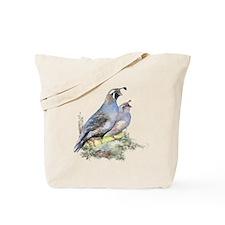 Watercolor California Quail Bird Tote Bag