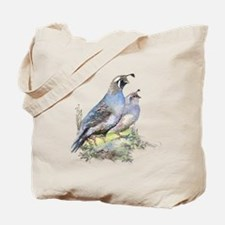 Watercolor California Quail Bird Tote Bag