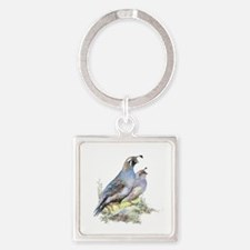 Watercolor California Quail Bird Square Keychain