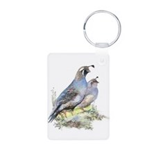 Watercolor California Quail Bird Keychains