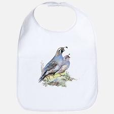 Watercolor California Quail Bird Bib