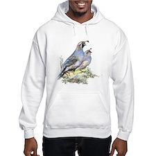 Watercolor California Quail Bird Hoodie