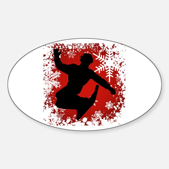 Snowboarding (Red) Oval Decal