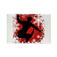 Snowboarding (Red) Rectangle Magnet