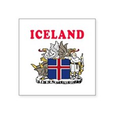 """Iceland Coat Of Arms Designs Square Sticker 3"""" x 3"""