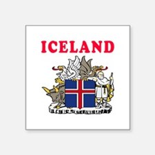 "Iceland Coat Of Arms Designs Square Sticker 3"" x 3"