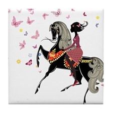 Girl on the horse Tile Coaster