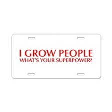I-grow-people-opt-red Aluminum License Plate