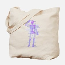 Red Blue Skeleton Body Diagram Tote Bag