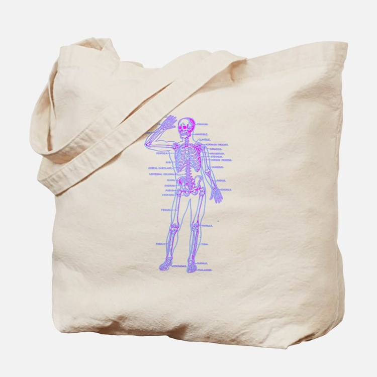 Red Blue Skeleton Body Diagram Tote Bag