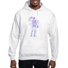 Red Blue Skeleton Body Diagram Hoodie