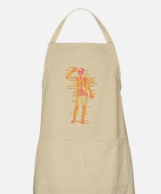 Red Yellow Skeleton Body Diagram Apron