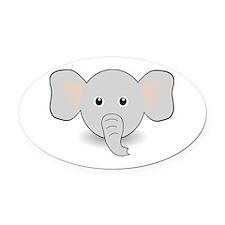Elephant Head Oval Car Magnet