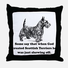 When God Created Scottish Terriers Throw Pillow