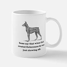 When God Created Dobermans Small Mug