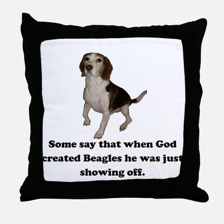 When God Created Beagles Throw Pillow