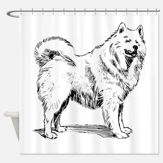 Samoyed Sketch Shower Curtain